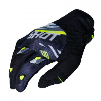 Gants Cross SHOT Contact Score Noir Gris Neon Jaune CE