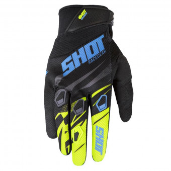 Gants Cross SHOT Devo Ventury Black Cyan Neon Yellow CE Kid