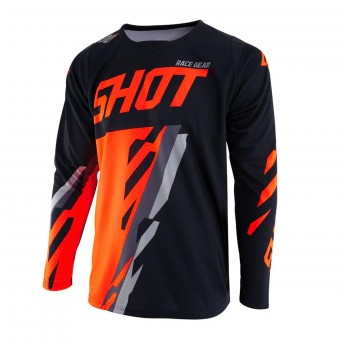 Maillot Cross SHOT Contact Score Noir Neon Orange