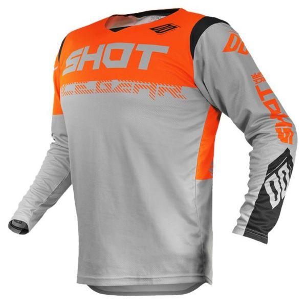 Maillot Cross SHOT Contact Trust Light Grey Neon Orange