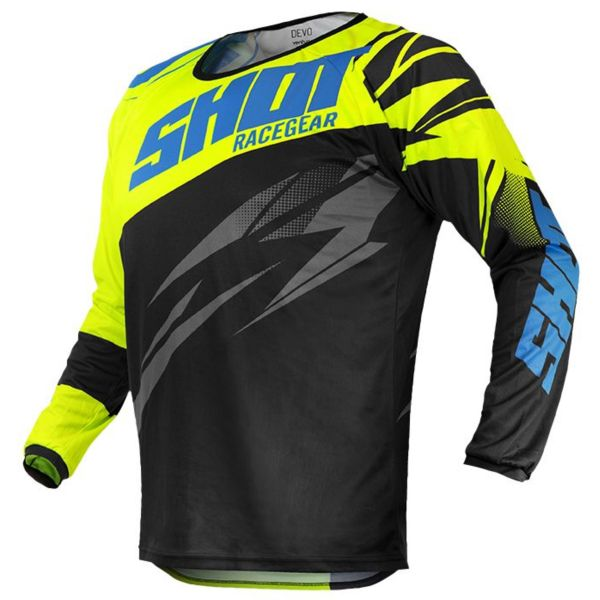 Maillot Cross SHOT Devo Ventury Black Cyan Neon Yellow Kid