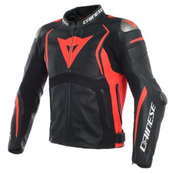Blouson Moto Dainese Mugello Leather Black Fluo Red