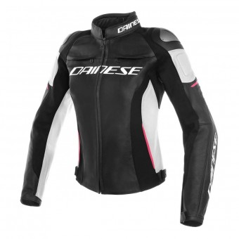 Blouson Moto Dainese Racing 3 Lady Black White Fuchsia