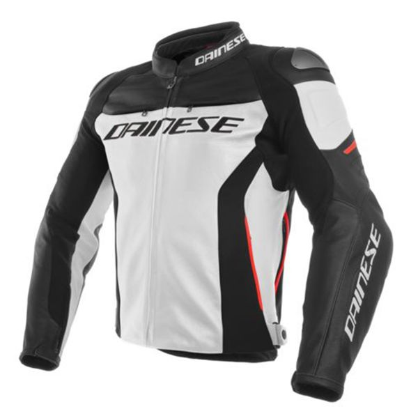 Blouson Moto Dainese Racing 3 White Black Red
