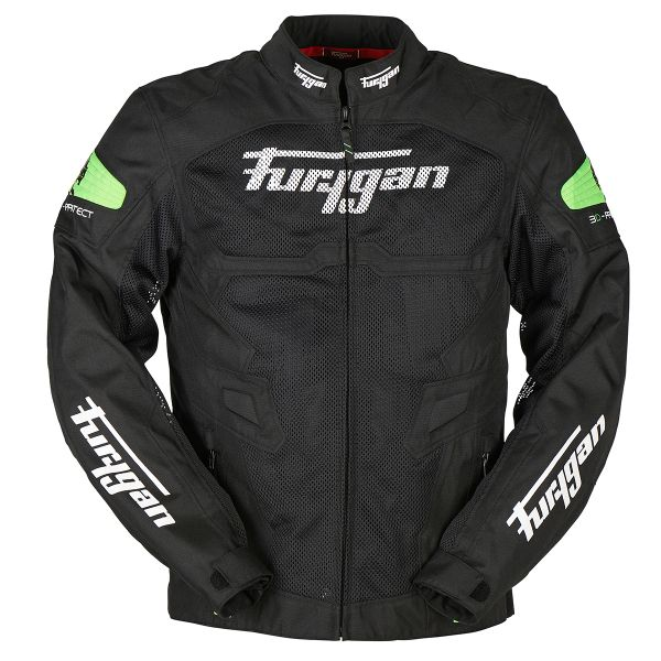 Blouson Moto Furygan Atom Vented Black Green Fluo