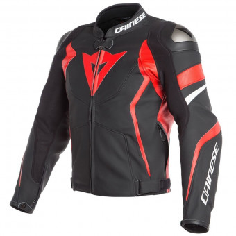 Blouson Moto Dainese Avro 4 Black Matt Lava Red White