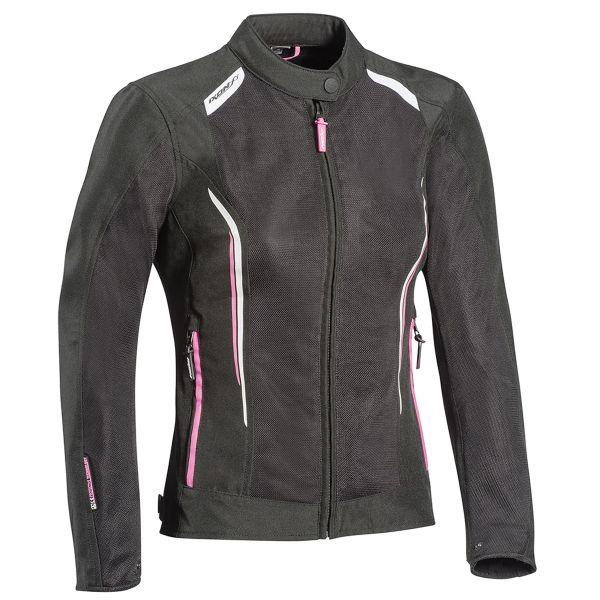 Blouson Moto Ixon Cool Air Lady Black White Pink