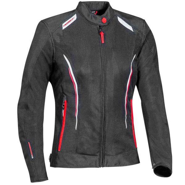 Blouson Moto Ixon Cool Air Lady Black White Red
