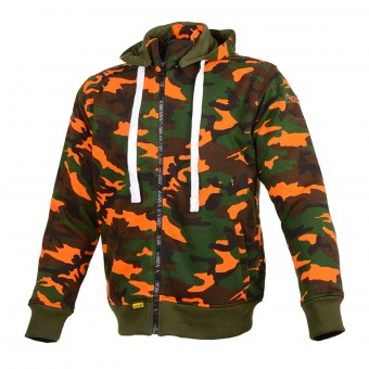 Blouson Moto Booster Hoodie Core Camo Kaki Orange