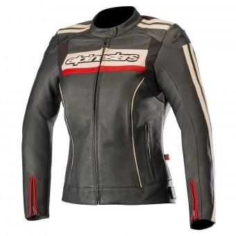 Blouson Moto Alpinestars Stella Dyno V2 Black Stone Red