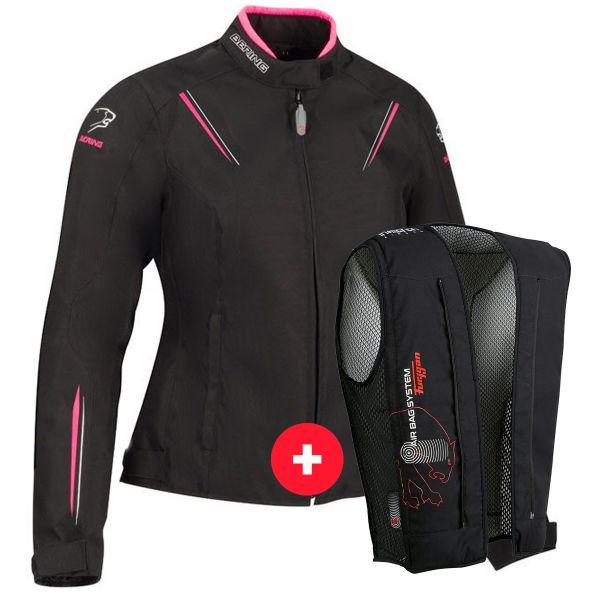 Blouson Moto Bering Lady Meryll Black Fuchsia + Fury Air Bag System