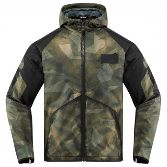 Blouson Moto ICON Merc Battlescar Military Green Black
