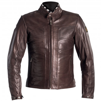 Blouson Moto Helstons River Leather Perforated Brown