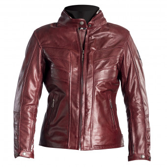 Blouson Moto Helstons Sarah Leather Perforated Burgundy