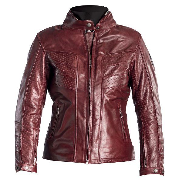 Blouson Moto Helstons Sarah Leather Perforated Burgundy