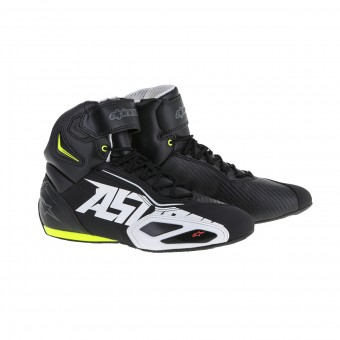 Baskets Moto Alpinestars Faster 2 Black White Yellow Fluo
