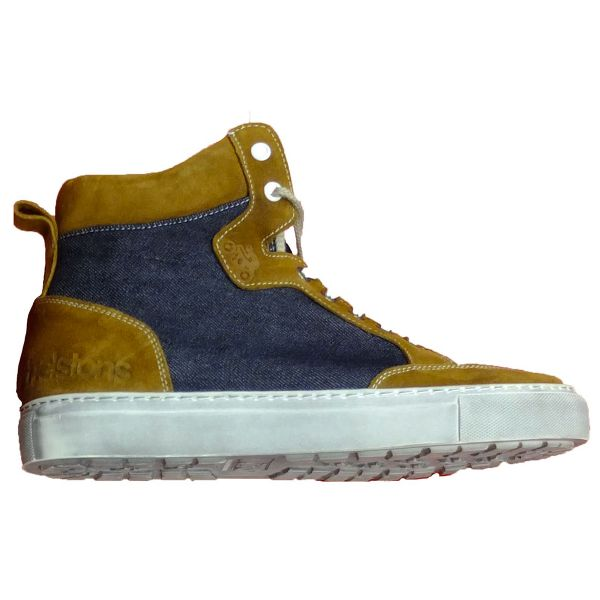 Baskets Moto Helstons Kobe Armalith Leather Gold Blue