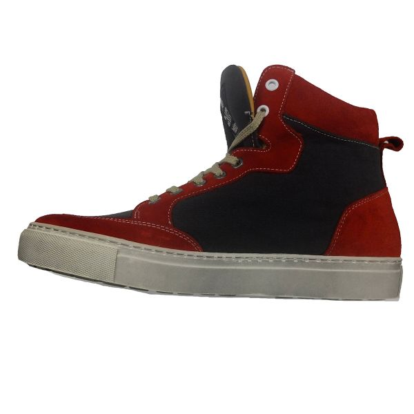 Baskets Moto Helstons Kobe Armalith Leather Red Grey