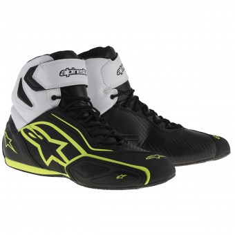 Baskets Moto Alpinestars Faster 2 Waterproof Black White Yellow Fluo