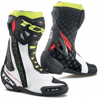 Bottes Moto TCX RT-Race White Red Yellow Fluo