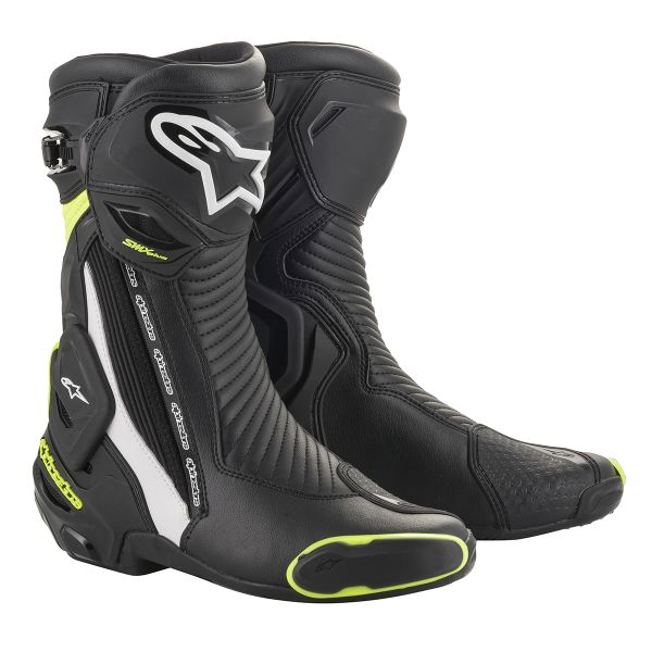 Bottes Moto Alpinestars SMX Plus V2 Black White Yellow Fluo