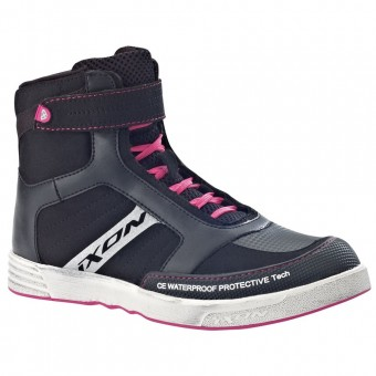 Baskets Moto Ixon Slack Lady Black White Fuchsia
