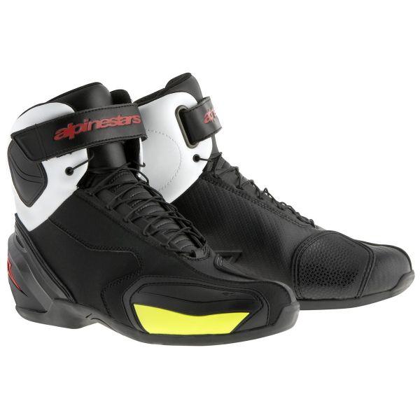 Chaussures Moto Alpinestars SP-1 Boot Black White Red Yellow Fluo
