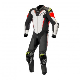 Combinaison Moto Cuir Alpinestars Atem V3 Suit Black White Red Yellow Fluo