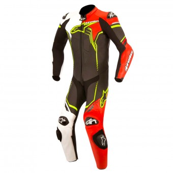 Combinaison Moto Cuir Alpinestars GP PRO Suit Black White Red Yellow Fluo
