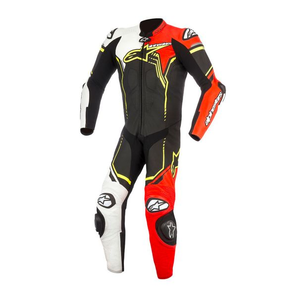 combinaison moto cuir alpinestars gp plus v2 suit black white red yellow fluo en stock. Black Bedroom Furniture Sets. Home Design Ideas