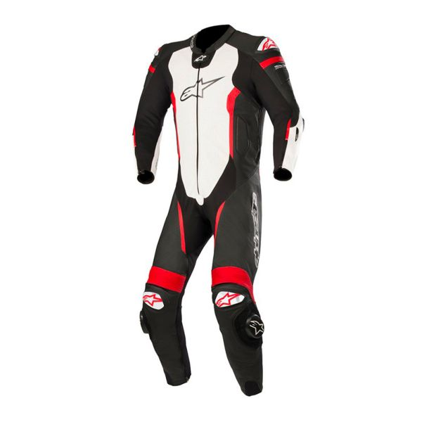 Combinaison Moto Cuir Alpinestars Missile Suit Black White Red Fluo