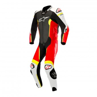Combinaison Moto Cuir Alpinestars Missile Suit Black White Red Yellow Fluo
