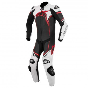 Combinaison Moto Cuir Alpinestars Young GP Plus Black White Red Fluo