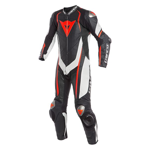 Combinaison Moto Cuir Dainese Kyalami 1PC Perforated Black White Fluo Red