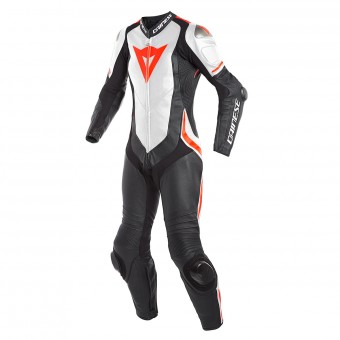 Combinaison Moto Cuir Dainese Laguna Seca 4 1PC Perforated Lady Black White Fluo Red