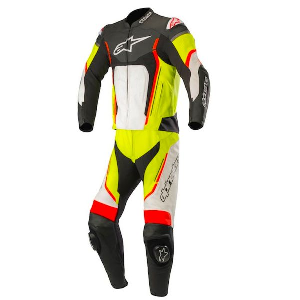 Combinaison Moto Cuir Alpinestars Motegi V2 2PC Black White Yellow Fluo Red