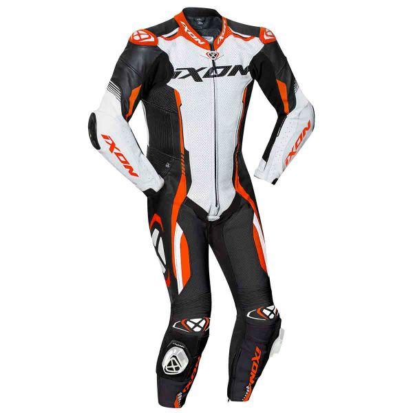 Combinaison Moto Cuir Ixon Vortex 2 Noir Blanc Orange