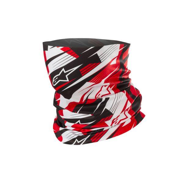 Tours De Cou Moto Alpinestars Blurred Neck Tube Noir Blanc Rouge