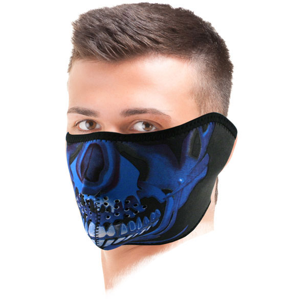 tour de cou moto zanheadgear blue chrome skull cherche propri taire. Black Bedroom Furniture Sets. Home Design Ideas