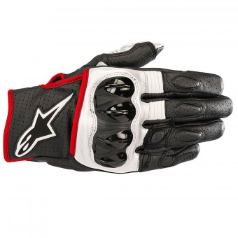 Gants Moto Alpinestars Celer V2 Leather Black White Red Fluo