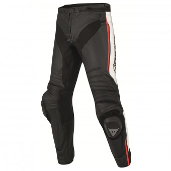 Pantalon Moto Dainese Misano Perforated Black White Red Fluo