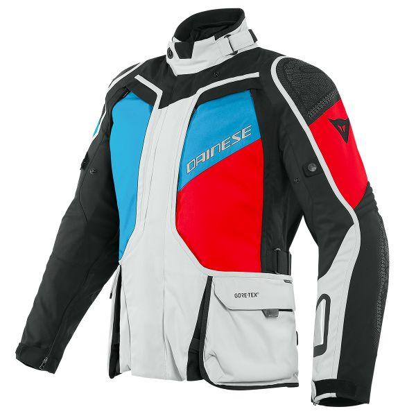 Veste Moto Dainese D-Explorer 2 Gore-Tex Glacier Grey Blue Lava Red Black