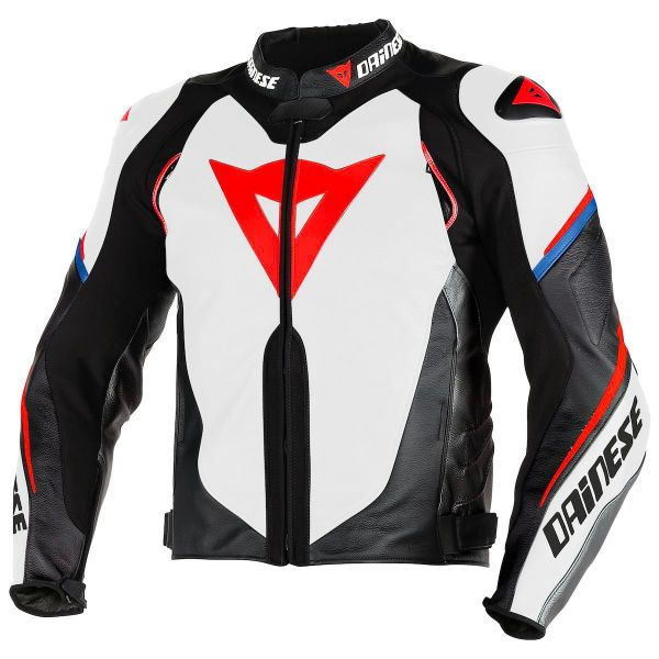 Blouson Moto Dainese Super Speed D1 Perf White Black Fluo Red