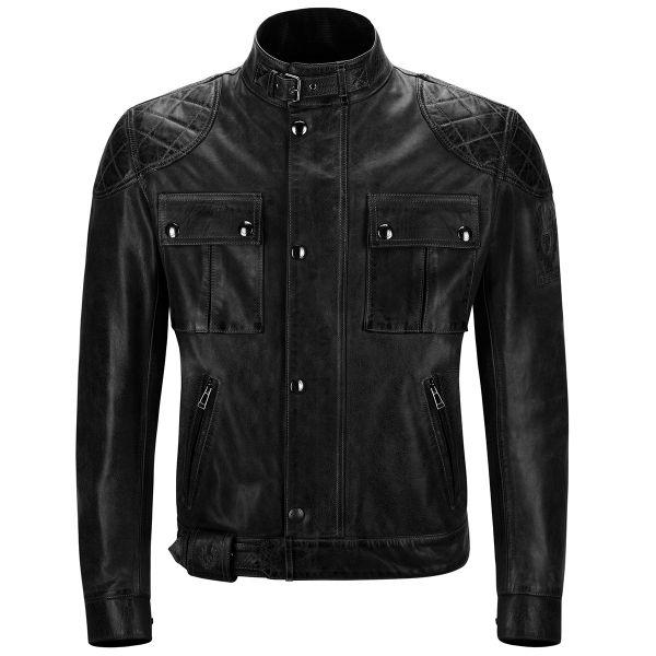 Blouson Moto Belstaff Brooklands Leather Antique Black