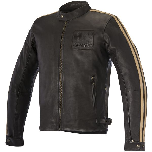 Blouson Moto Alpinestars Charlie Leather Vintage Brown Sand