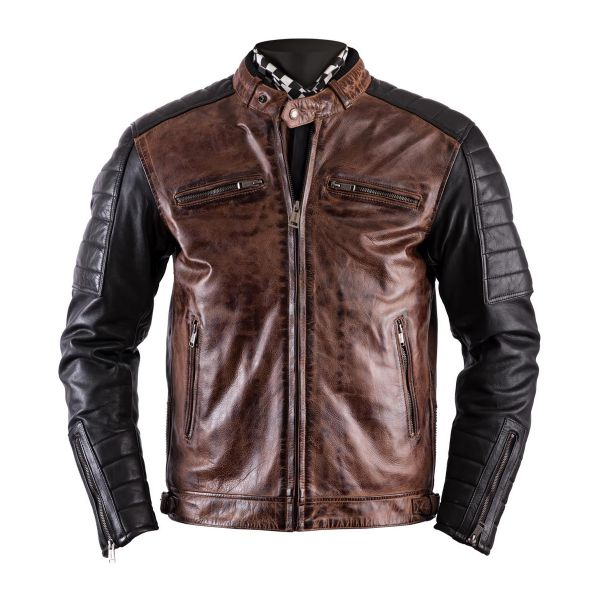 Blouson Moto Helstons Cruiser Leather Rag Camel Black