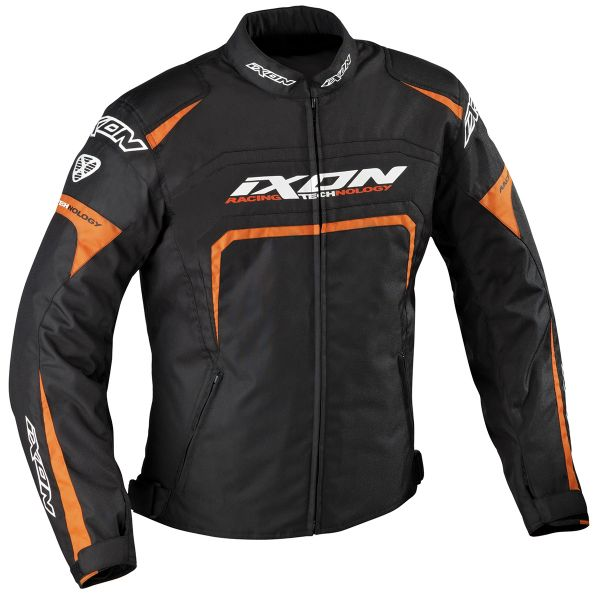 Blouson Moto Ixon Eager Noir Blanc Orange
