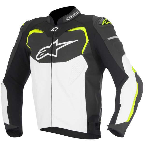 Blouson Moto Alpinestars GP PRO Leather Black White Yellow Fluo