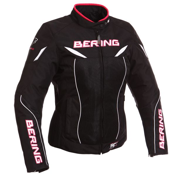 Blouson Moto Bering Lady Kwerk Noir Blanc Fuchsia