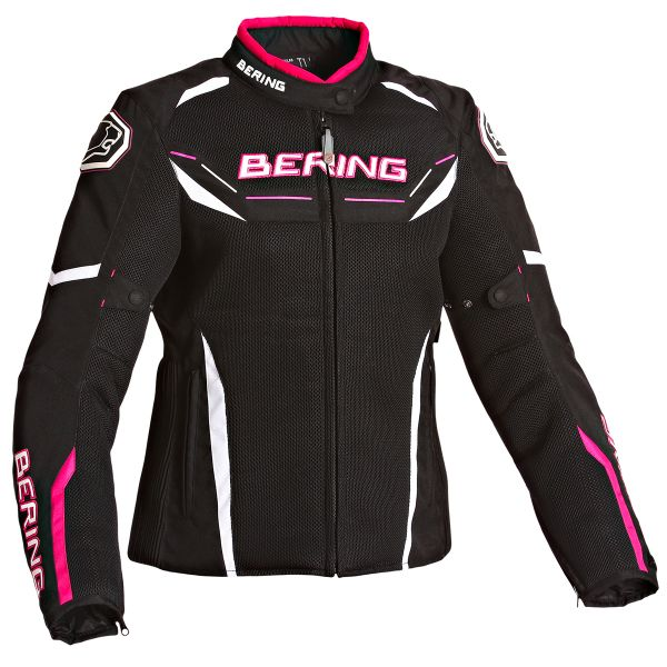 Blouson Moto Bering Lady Scream Black White Fuschia